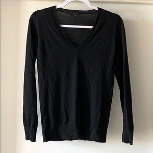 Black THEORY women's v neck merino wool sweater S